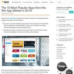The 10 Most Popular Apps from the Wix App Market in 2013!