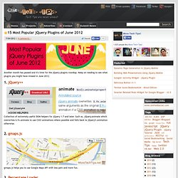 15 Most Popular jQuery Plugins of June 2012