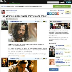 Top 20 most underrated movies and more... list