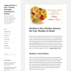 Best Mother's Day Wishes Quotes for Say Thanks to Mom