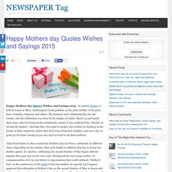 Happy Mothers day Quotes Wishes and Sayings 2015 - NEWSPAPER Tag