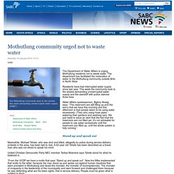 Mothutlung community urged not to waste water:Saturday 18 January 2014