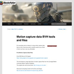 Motion capture data BVH tools and files