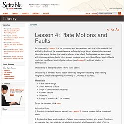 Lesson 4: Plate Motions and Faults