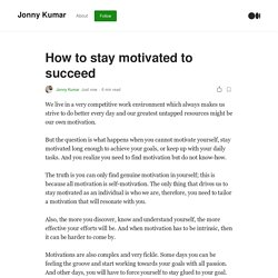 How to stay motivated to succeed. We live in a very competitive work…