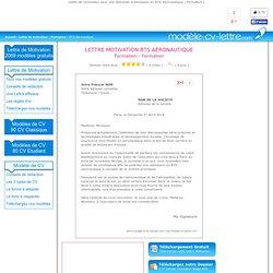 Lettre de Motivation BTS Aéronautique - Demande d'admission