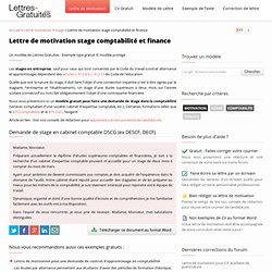 Lettre de motivation stage comptabilité et finance