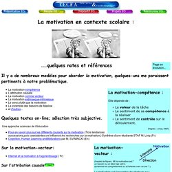 La motivation en contexte scolaire : quelques notes