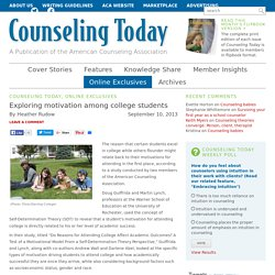 Exploring motivation among college students - Counseling Today