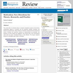 Motivation: New Directions for Theory, Research, and Practice
