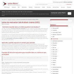 Lettre de motivation Job étudiant cinéma (UGC) - Modèle Gratuit