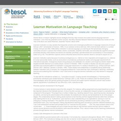 Learner Motivation in Language Teaching