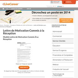 Exemple Lettre de Motivation Commis À La Réception LiveCareer