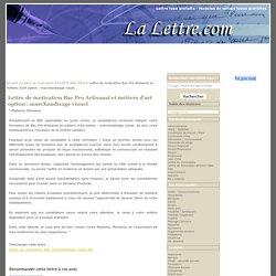 Lettre de motivation Bac Pro Artisanat et métiers d'art option : marchandisage visuel