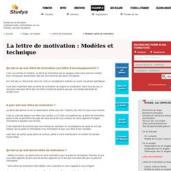 Modeles lettre de motivation