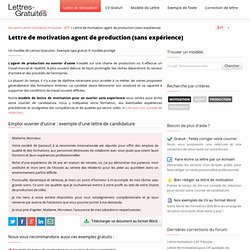 Lettre de motivation agent de production (sans expérience)