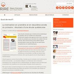 La motivation au primaire : résultats d'une étude québécoise