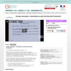 Franck Amadieu - Favoriser la motivation des étudiants - Université Paris 1 Panthéon-Sorbonne