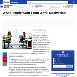 What People Want From Work - Motivation