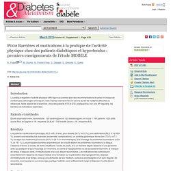 Barrières et motivations à la pratique de l'activité physique chez des patients diabétiques et hypertendus :