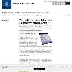 Vad motiverar elever till att lära sig moderna språk i skolan? - Göteborgs universitet