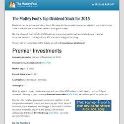 Motley Fool Australia » The Motley Fool's Top Dividend Stock for 2015