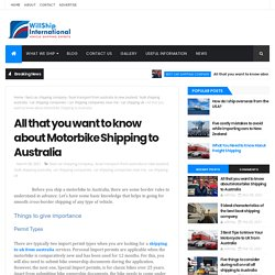 All that you want to know about Motorbike Shipping to Australia - Willship International