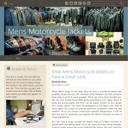 Wear Mens Motorcycle Jackets to have a Great Look - Mens Motorcycle Jackets : powered by Doodlekit