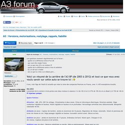 A3 : Versions, motorisations, restylage, rappels, fiabilité : Questions & Conseils d'achat sur les Audi A3 8P - Forum Audi A3 8P - 8V