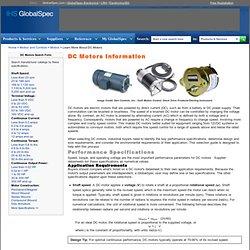 DC Motors Information on GlobalSpec