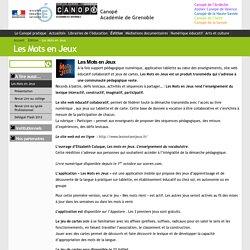 Les Mots en Jeux - Canopé Académie de Grenoble