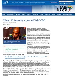 Hlaudi Motsoeneng appointed SABC COO:Wednesday 9 July 2014