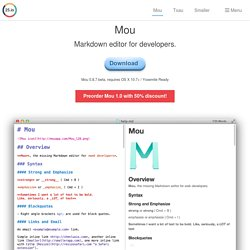 Mou - Markdown editor for developers, on Mac OS X.