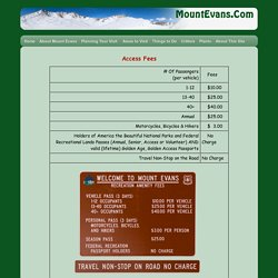 Mount Evans - Access Fees