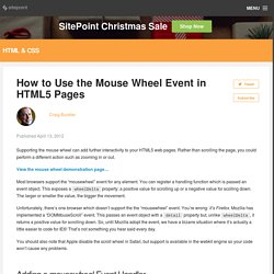 How to Use the Mouse Wheel Event in HTML5 Pages