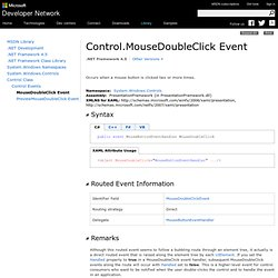 Control.MouseDoubleClick Event (System.Windows.Controls)