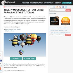 jQuery Mouseover Effect Using Parallax Style Tutorial