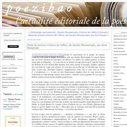 (Note de lecture) Cinéma de l'affect, de Sandra Moussempès, par Anne Malaprade (Poezibao)