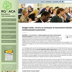 Budget Leitão : encore un recul pour le mouvement d'action communautaire autonome!