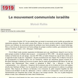1919 Le mouvement communiste israélite