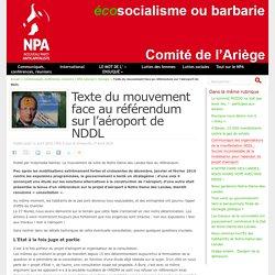 Texte du mouvement face au référendum sur l'aéroport de NDDL