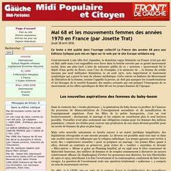 Mai 68 et les mouvements femmes des années 1970 en France (par Josette Trat)