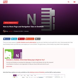 How to Move Page and Navigation Tabs in OneNote