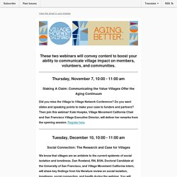 Village Movement California Fall 2019 Webinars