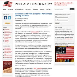 Movement to Abolish Corporate Personhood Gaining Traction