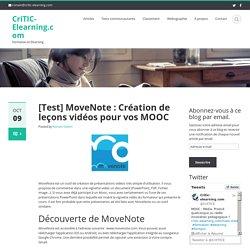 [Test] MoveNote : Création de leçons vidéos pour vos MOOC