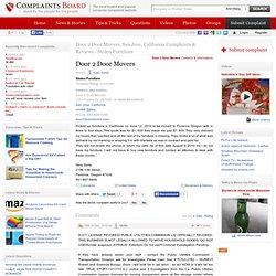 Door 2 Door Movers Complaints, Reviews - Stolen Furniture