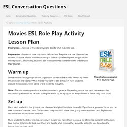 Movies - ESL Role Play Activity