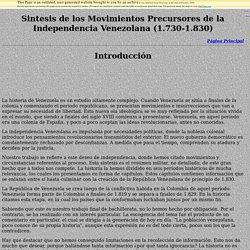 Síntesis de los Movimientos Precursores de la Independencia Venezolana (1.730-1.830)