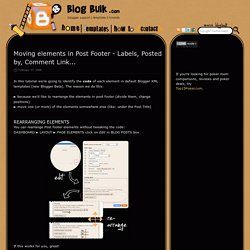 Moving elements in Post Footer - Labels, Posted by, Comment Link...